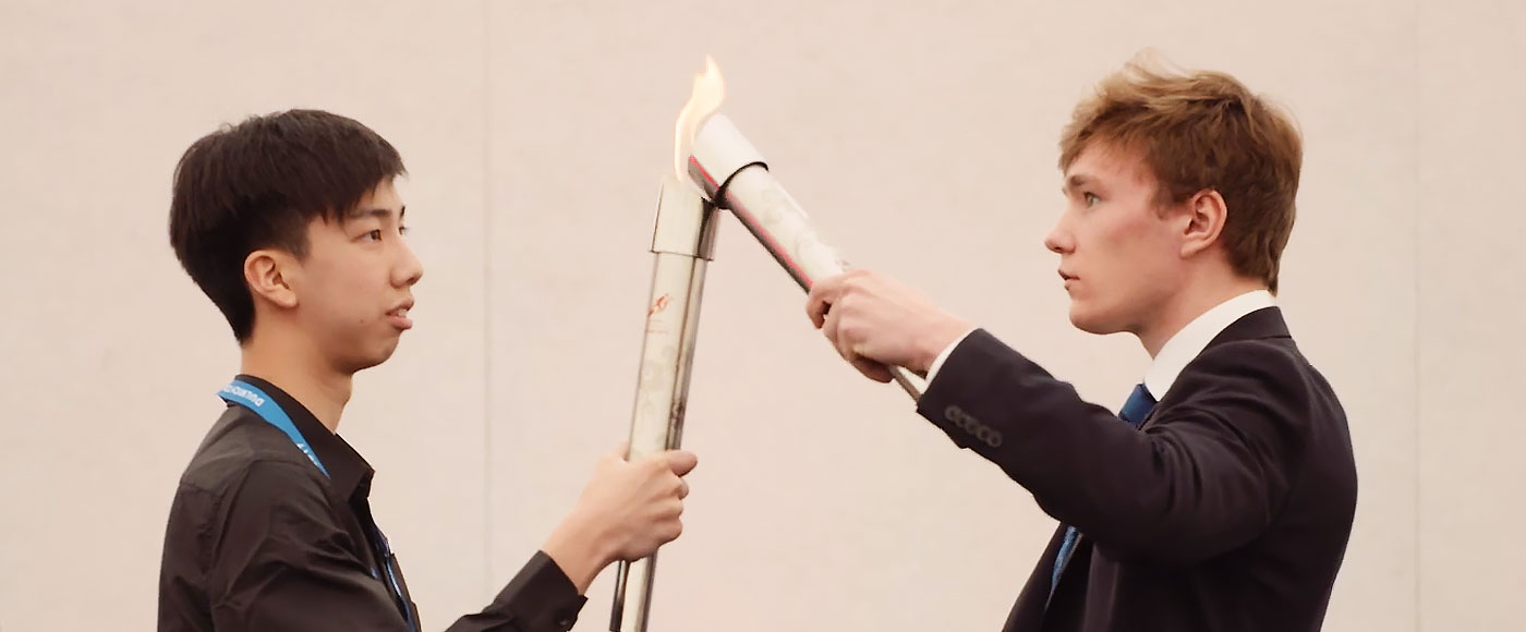 Lighting the Olympiad torch