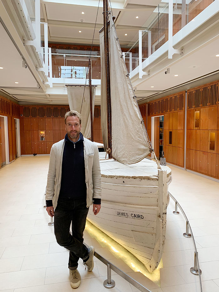 Ben Fogle beside the James Caird