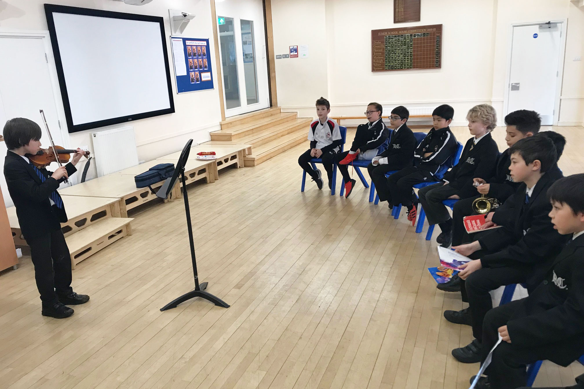 Junior School Boys Perform at the Pop in and Play Breaktime Concert