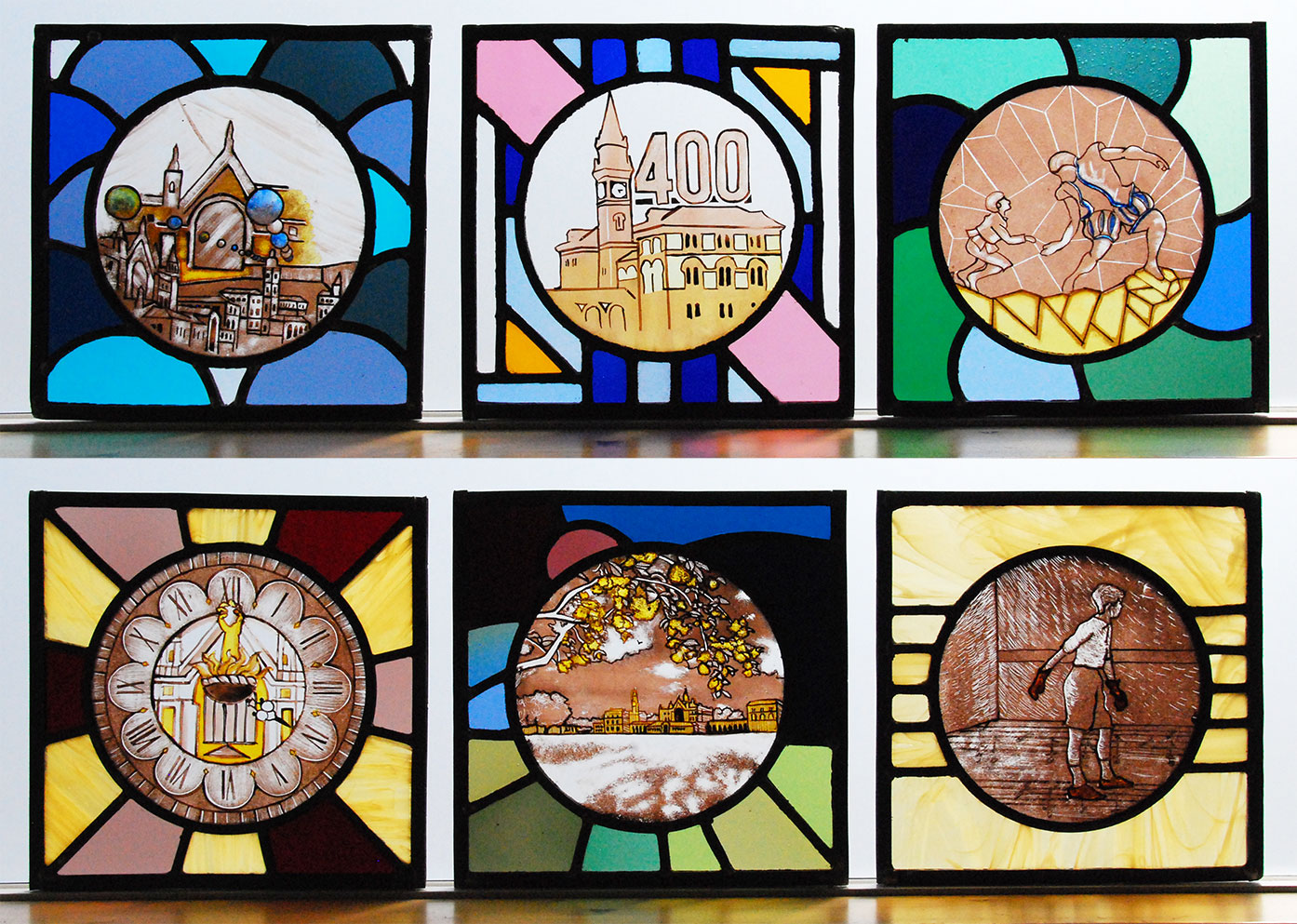 Senior boys create stunning glass panels with the help of award winning artists