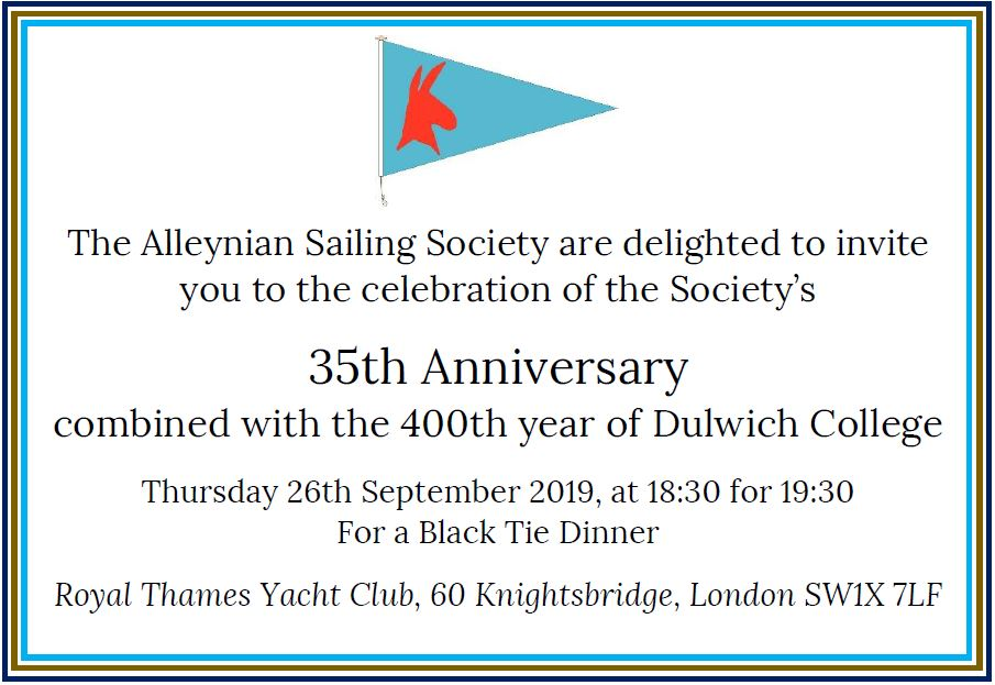 Alleynian Sailing Society 35th Anniversary Dinner